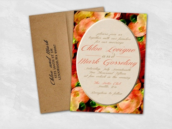 "Floral Watercolor Faux Gold Foil Wedding Invitation/RSVP Set - ""Monet"" - Digital File"