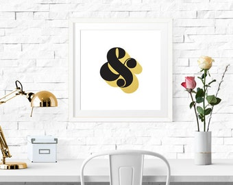 PRINTABLE - Typography Poster, Black Gold Decor, Ampersand Print, Office Decor, Wall Decor, Typography, Wall Decor - Black Gold Ampersand