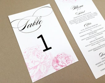Wedding Table Numbers / Table Numbers for Weddings and Events / Party Decoration / Vintage Floral Table Number / Rustic Table Numbers /Peony