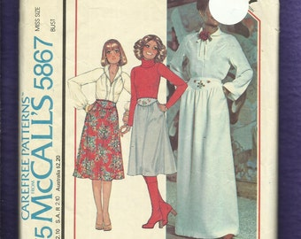 1977 McCalls 5867 Prairie Chic Modernized Western Blouse & Yoke Front Skirt Size 12
