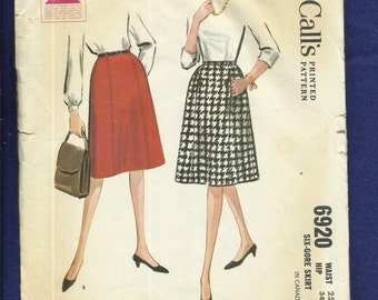 1960's McCalls 6920 Preppy A-Line Skirt with Concealed Front Pockets Size 10