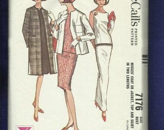 1960's McCalls 7176 Mid CenturyEvening Top Skirt & Jacket Size 14