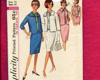1960's Simplicity 5882 Lunch with the Girls Suit  Box Jacket Blouse & Slim Skirt Size 16 UNCUT