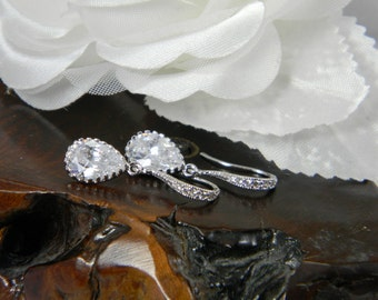 Crystal Drop Earrings, Sterling Silver Bridal Earrings, Teardrop Dangle Earrings Crystal Rhinestone Statement Earrings - CZ19