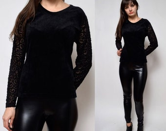 Vintage 90's  Black Velvet Mesh Sleeves Blouse