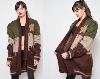 Vintage 80's Brown Khaki Beige Leaf Embelishment Long Blazer  Sweater