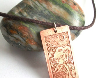 Elephant necklace, etched copper animal jewellery, wearable art