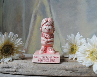 Vintage Paula Figurine - 1970's Collectible Figurine - Mother's Day - Mom Spells Wow Statue