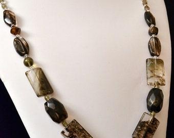 Black Moss Glass, Agate and Quartz Contemporary Assymetrical Necklace