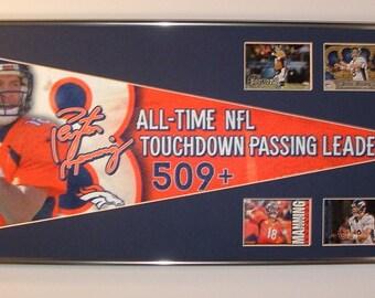 "Denver Broncos QB, Peyton Manning ""All Time Passing Record"" Pennant & Cards..Custom Framed!!"