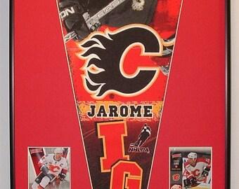 Calgary Flames Jerome Iginla Pennant & Cards...Custom Framed!
