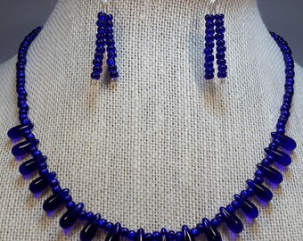 Electric blue necklace and earring set.