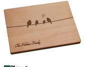 Personalized Cutting Board with Birds on a Wire, 11x16, 9x12, Personalized Wedding Gift,Custom Cutting Board, Wedding Gifts, Engraved Gift