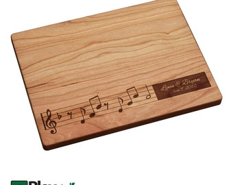 Personalized Engraved Cutting Board with Musical Notes , Personalized Wedding Gift,Custom Cutting Board, Wedding Gifts, Music lovers
