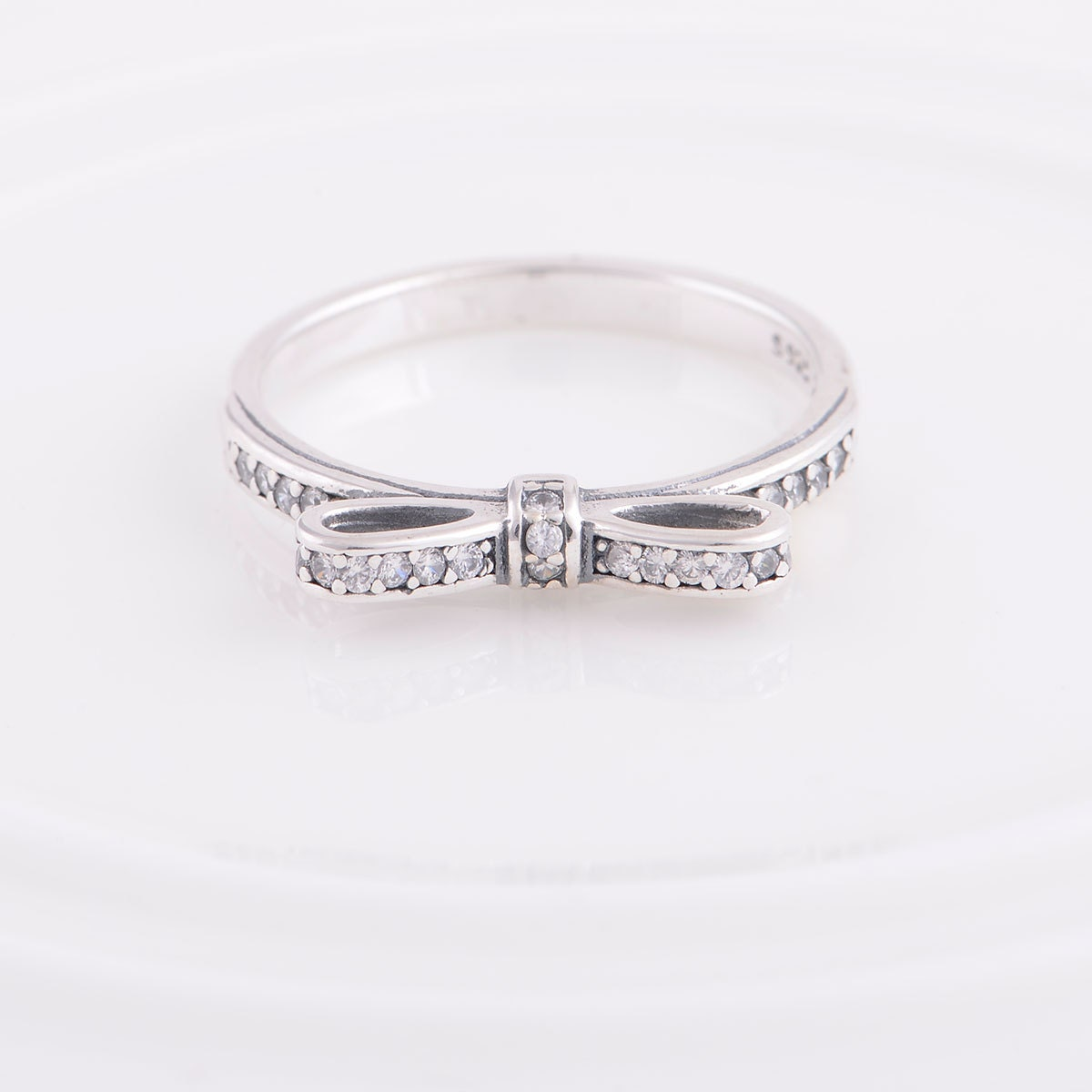 bow tie ring 925 sterling silver and cubic by