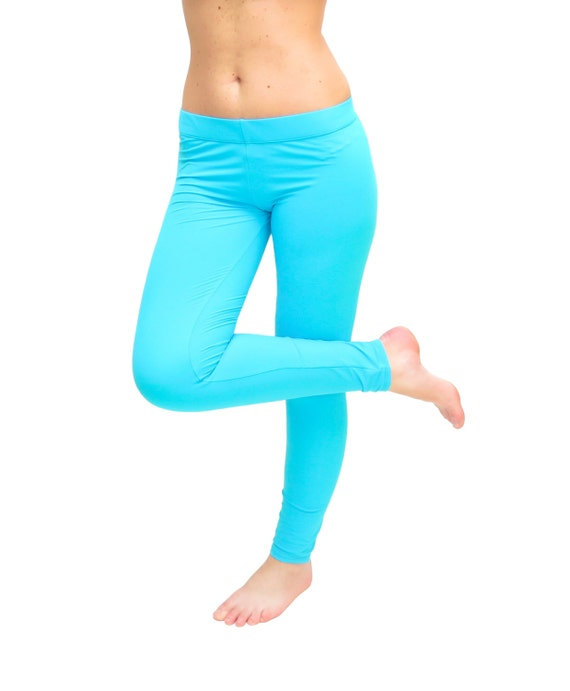 Turquoise Yoga Pants Turquoise Leggings Blue Yoga by AncyShop
