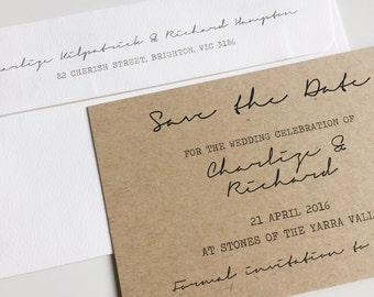 Deposit : kraft save the date cards SUITE 10 organic rustic wedding save the date,calligraphy save the date,vintage save the date, wedding