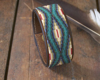 Southwestern Native American Hand Tooled Leather Bracelet Beaded In Antique Shades of Tans And Greens by LJ Greywolf