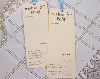 Set of 8 Baby Shower Wishing Tree Tags Bookmarks with Children Book Quotes - Wishes for Baby