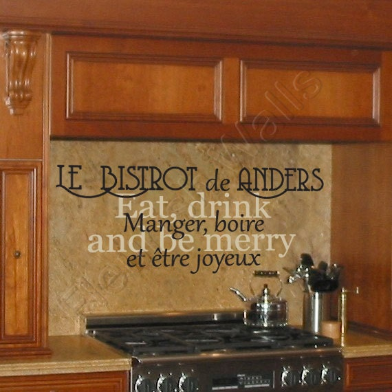 Eat Kitchen Decor Wall Decal : Kitchen wall decor family name decal eat drink and be