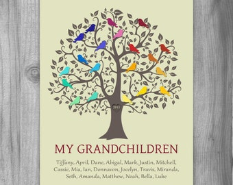 Birthday Gift for Grandma, Personalized Gift, Family Tree Print, Grandparents Gift, GrandKids Names, Unique Keepsake Gift for Grandchildren