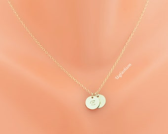 personalized necklace, circle charm necklace, disc Necklace, child necklace, best friend gift, mothers necklace, new mom gift, gold necklace
