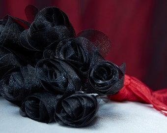 Long Stemmed Black Organza Fabric Roses - Perfect for the one you love on Valentine's Day!