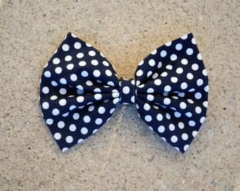 Navy Blue Polka Dot Fabric Hair Bow/Bow Tie