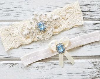 Blue Topaz Ivory White Lace Bridal Garter Belt Wedding Set Keepsake Toss Shower Gift Rustic Beach Spring