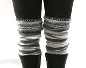 Soft Gray Legwarmers / Upcycled Wool Angora Boot Toppers with Handknit Cuffs / Charcoal Gray Striped / Eco Friendly Boot Cuffs /