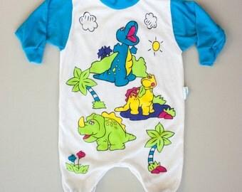 Vintage 80's Drop Crotch Dinosaur Print Onesie Bodysuit Sleeper / 12 Month Baby