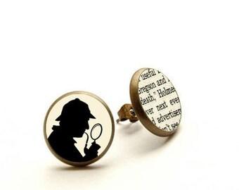 Sherlock Holmes - handmade stud earrings, Holmes & Watson - Literature Earrings, Hypoallergenic Earrings