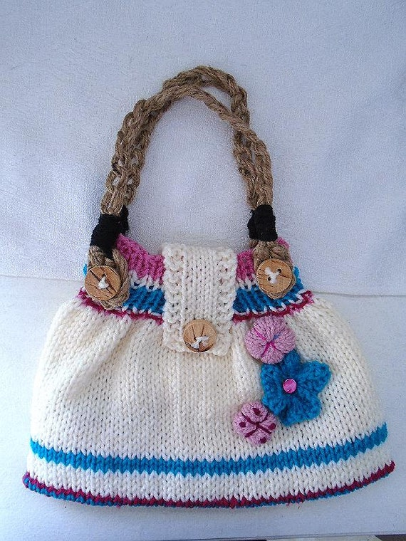 KNITTING PATTERN Knit Spring Purse 12 inches wide Easy