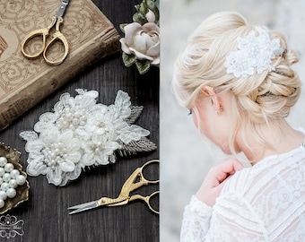 Lace Bridal Hair Comb, Wedding Headpiece Fascinator with Beaded Lace in Ivory with Pearls and Swarovski Rhinestones