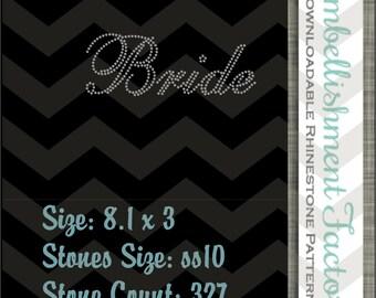 svg, eps, dxf, pdf, job- Rhinestone template- Bride- DIY 13-62