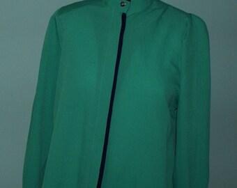 Unique green vintage blouse, 80s style