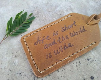 "leather luggage tag ""life is short world wide"" engraving cream brown handmade Preorder"