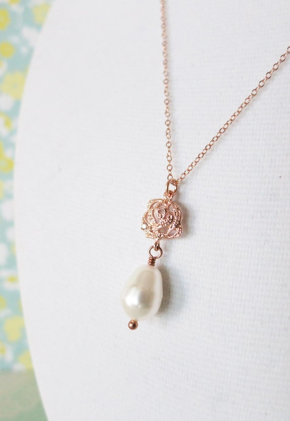Rose Gold Rose Flower Pearl Teardrop Necklace - gifts for her, bridal gifts, drop, dangle, pink gold weddings, bridesmaid necklace