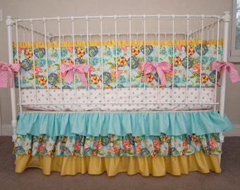 LillyBelle Garden Rocket Turquoise  Baby Girl Crib / Cot Bedding in Turquoise / Aqua, Coral, Gray, and Yellow