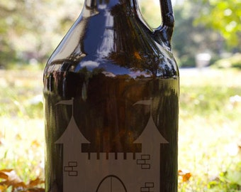 Fantasy Castle Customizable Etched Amber Glass Beer Growler Glassware Gift
