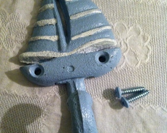Sky Blue and White Cast Iron Sail Boat/Hook