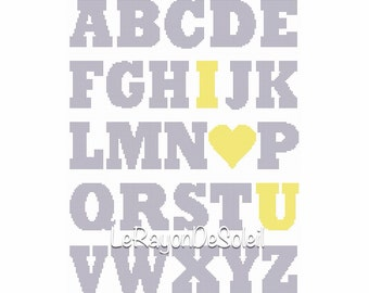 Cross stitch pattern alphabet nursery decor ABC I love you PDF Instant download.