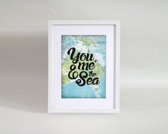 Personalised You, Me & the Sea Map Print - A4