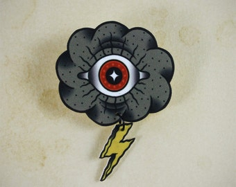 Eye Cloud Neo Traditional Tattoo Brooch
