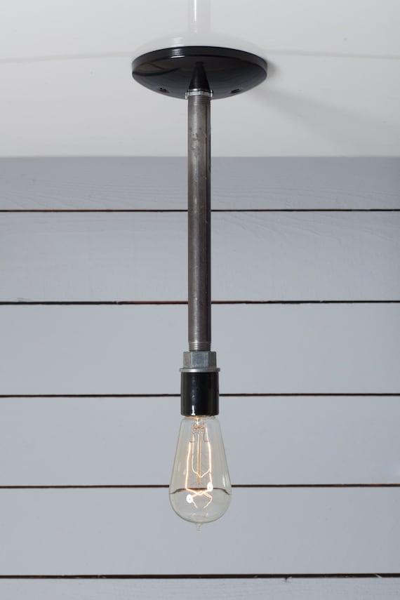 Industrial black pipe light bare bulb pendant lamp for Industrial pipe light socket