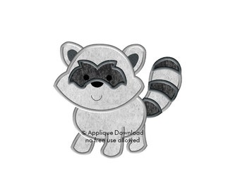 Cute Raccoon Embroidery Applique - Instant EMAIL With Download - for Embroidery Machines