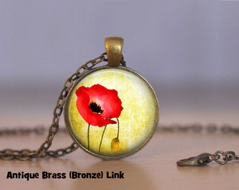 Poppy Necklace Poppy Pendant Necklace or Poppy Keyring Poppy Jewelry Red Flower Poppy Flower