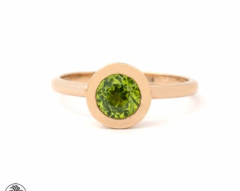 Peridot Rose Gold Ring, Peridot Ring, August Birthstone Ring, Stackable Rings | LDR02215