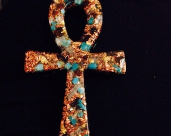 Orgone ASG Energetic Ankh with Phenakite, Shungite,Turquoise, Garnet, 5 1/2 in long, 1/2 thick