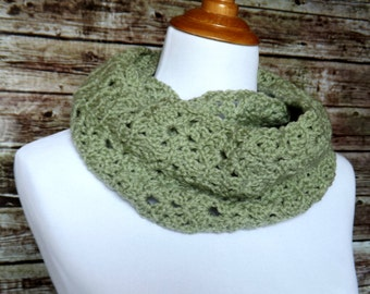 Sage Green Infinity Scarf - Crochet Circle Scarf